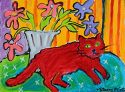 Red Cat with Anemones