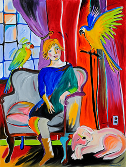 Woman with Parrots and a Dog